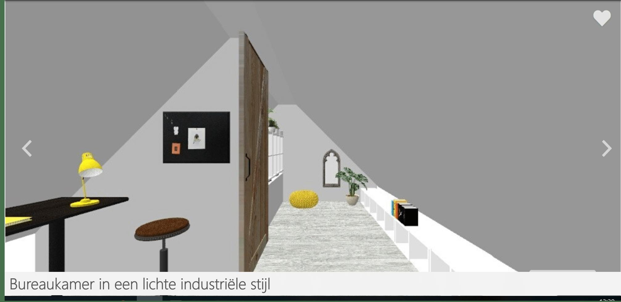 Huisjethuisje-bureau-industriële-stijl-3D