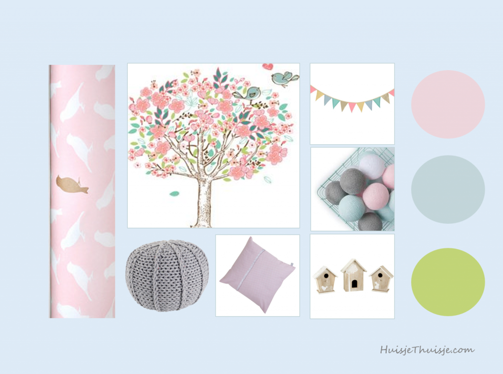 Moodboard - nursery - baby - girl - pink - mint - tree - flags - cotton balls